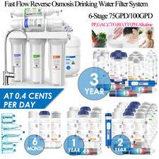 6Stage Under-Sink RO water filter system Alkaline pH+Drinking Purifier 75/100GPD