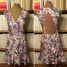 KEEPSAKE Label diamond floral print purple grey fitted mini dress S UK 8 US 4