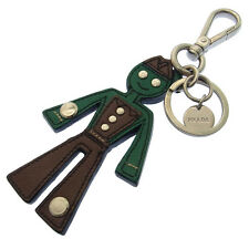 Prada key ring Key holder Logo Green Brown Woman Authentic Used D749