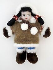 "Kipmik Eskimo Girl 11"" Doll Anchorage Alaska Plush Stuffed Faux Fur Plastic Head"