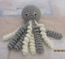 Handmade Crochet Octopus - Grey/White