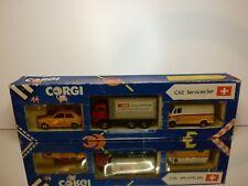 CORGI TOYS C62 VW POLO MB TRUCK + 207D SERVICES SET SWISS POST PTT - GOOD IN BOX
