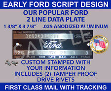 "FORD DATA TAG ""STAMPED WITH YOUR INFO"" VINTAGE FORD SCRIPT DESIGN MADE IN U.S.A."