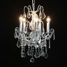French Large 5 Branch SILVER LEAF Glass Ornate Lighting Chandelier CH67