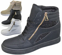 WOMENS WEDGE HEEL FAUX LEATHER HIGH TOP BOOTS LADIES ANKLE SNEAKER GIRL TRAINERS