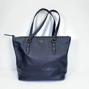 Kate Spade New York Womens Satchel Handbag Blue Cow Leather Phone Pocket Zip M