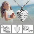 Stainless Steel Angel Heart Ash Keepsake Cremation Memorial Jewelry Urn Necklace