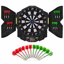 Electronic Dartboard Sport Game Set w/ Cabinet, 12 Darts, LCD Display