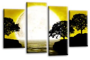 Le Reve Abstract Landscape Mustard Grey White Big Moon Seascape Split Wall Art