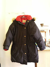 Woolrich Women's Lg. Coyote Fur Hooded Black Arctic Parka Goose Down Coat 21128