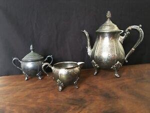 Vintage Viners of Sheffield Silverplate CoffeeTea Pot, Creamer, Sugarbowl