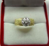 Stylish 1970's Vintage Heavy 18ct Gold And Diamond Cluster Ring Size L.1/2