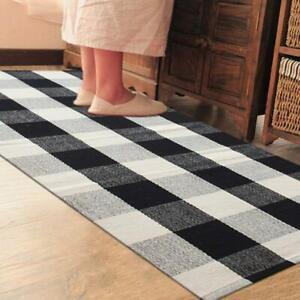 Non-slip Floor Mat Door Mat Kitchen Bathroom Laundry  rug  Checked Black White
