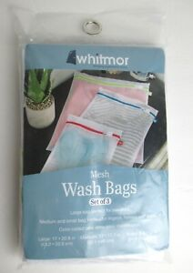 Whitmor Color Coded Mesh Wash Bags White Set of 3 Assorted Sizes & Zipper