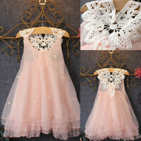Flower Girls Princess Dress Kids Baby Party Pageant Prom Lace Tulle Tutu Dresses