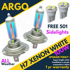 H7 100w Super White Xenon (499) 12v Dipped Headlight Bulbs + 501 Led Side lights
