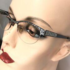 William Morris London Eyeglasses WM1503 Silver Glitter Black Oval Frames England