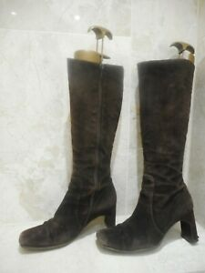 L K Bennett High Heeled Suede Leather Brown Boots Size 4 37