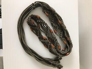 Boho Woven Macrame Belt w Wood Beads Tie Front Fringe Olive Green One Size
