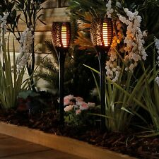 Garden Flickering Flame Solar Torch LED Stake Pathway Outdoor Lights - Two Pack