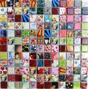 Keramik Mosaik bunt Fliesenspiegel Küche Bad Dusche 18D-1605 I 10 Mosaikmatten