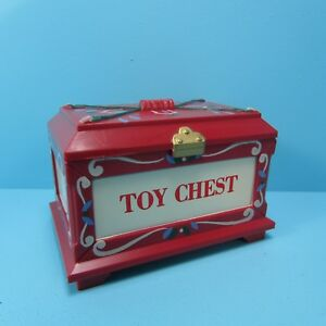 Dollhouse Miniature Toy Box / Chest Red - Lid Opens ~ CAR1601R