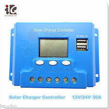 Solar Charger Controller 30A 12V/24V LCD PWM Battery Regulator  W/ Dual MOS USB
