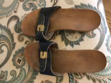 Vintage Original Dr Scholl's Blue Leather Wood Exercise Sandals Women's Size 9