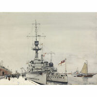 King HMS Concord Cardiff Copenhagen WWI Painting Wall Art Canvas Print 18X24 In