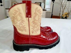 Ariat Boots FatBaby Red Alligator Print 14709 Cream Suede Top-Stitch Us 10