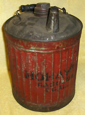 Vintage 2 Gal Gasoline Can, Original Red Paint, RARE Advertising Mohawk Gas