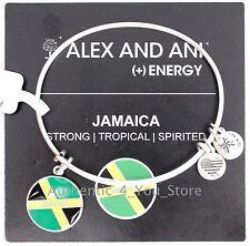 NEW ALEX AND ANI Jamaica Flag SILVER Enamel Charm Bangle Bracelet