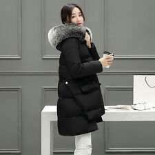 2016 Womens Winter Hooded Coats Fur Duck Down Parka Jacket Long Lady Outerwear