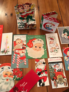 VTG 1950's Christmas Cards Used Lot Of 14 Adorable Graphics, 2 Cards Pop Outs