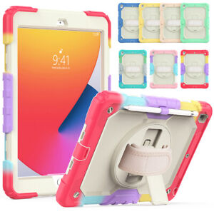 """For iPad 8th 7 6 5 Gen 10.2"""" 9.7"""" Air 2 Hand Strap Stand Shockproof Case Rotate"""