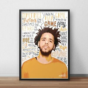 J Cole Poster / Print / Wall Art A5 A4 A3 / Role Modelz / 4 Your Eyez Only / KOD