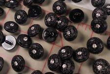 100 Pretty Little Vintage Buttons Black Flower Design With Rhinestone Center #49