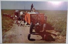 """Cotton Picking"" Postcard  John Deere 2-Cylinder Tractor Farm Farming harvesting"