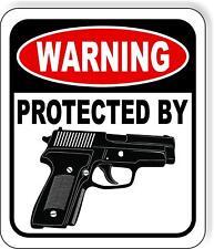 Warning Protected By Handgun Metal Outdoor Sign Long Lasting