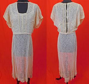 Vintage 1930s Sheer Cream Silk Lace Slip Dress & Keyhole Neckline Blouse Top 2pc