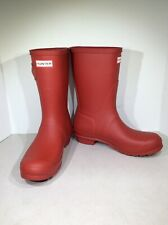 Hunter Original Short Women's Sz 9 Military Red Mid Calf Rain Boots X1-567