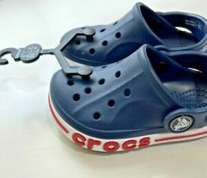 New with Tags Crocs Bayaband Clog Navy with Red Stripe size 6 Toddler
