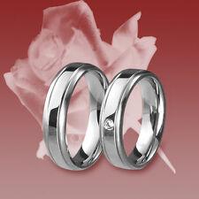 2 Edelstahl Ringe, Freundschaftsring, Verlobungsring, Ehering,Trauring, Zirkonia