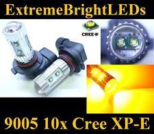 TWO Amber Orange 50W High Power 9005 HB3 10x Cree XP-E LED Fog Light bulbs #B