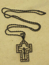 vintage Italy .925 Silver crucifix cross Jesus Christian ornate figural necklace