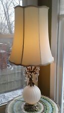 Vintage Cornell Brass Table Lamp Globe Shade Cherub Chrystal Prisms