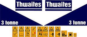 THWAITES 3 TONNE DUMPER DECALS STICKERS SET