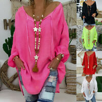 Women Loose Plus Size Blouse Tunic Long Sleeve V-neck Pullover Tops Shirt CL