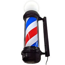 Red white and blue barber pole, LED, Black frame, rotating, top bulb, 85cm