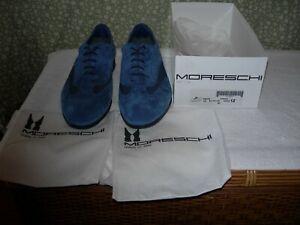 Moreschi Dress Shoes Blue Chiaro 40133 Carinzia Suede Wing Tip US Size 12